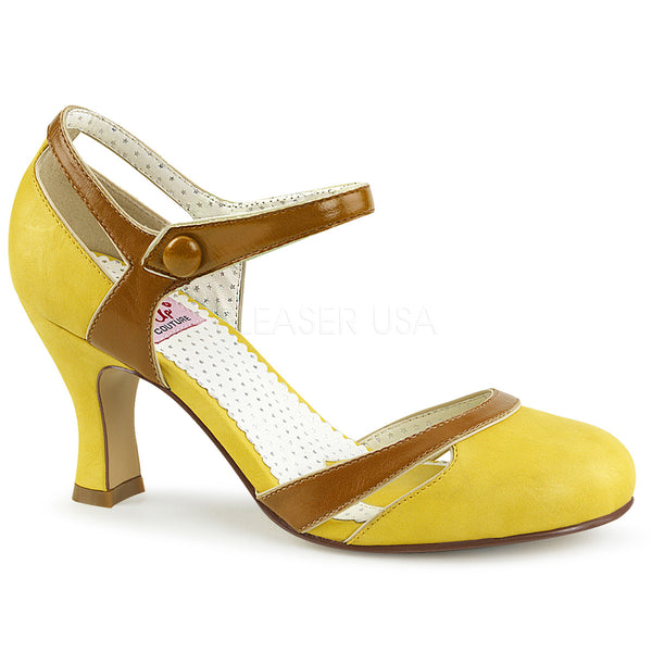 FLAPPER-27  Yellow-Tan Faux Leather