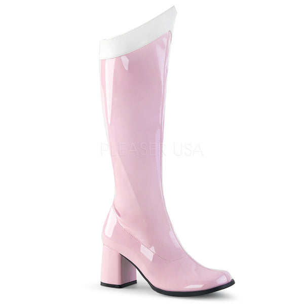 GOGO-306  Baby Pink-White Stretch Patent