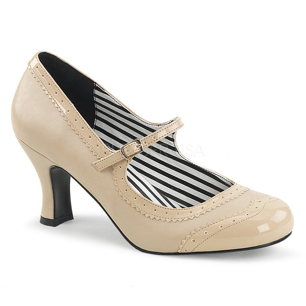 JENNA-06  Cream Faux Leather-Patent