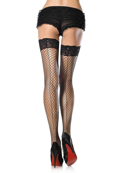 Leg Avenue Back-seam Fishnet Thigh High Stay Up Stockings 9061