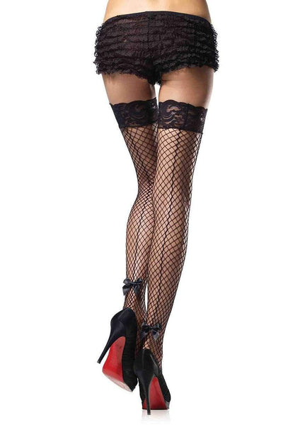 Leg Avenue Back-Seam Bow Fishnet Thigh High Stay Up Stockings 9315