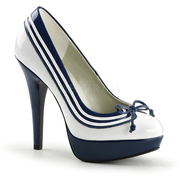 LOLITA-13  White-Navy Blue Patent