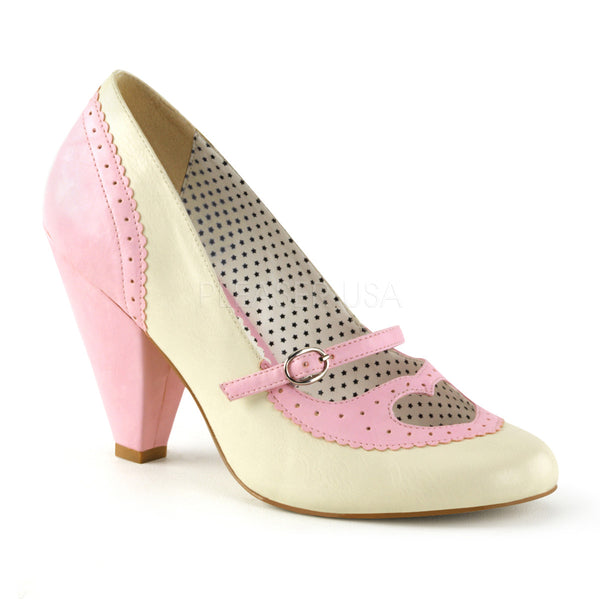 POPPY-18  Baby Pink-Cream Faux Leather