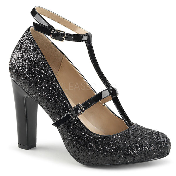 QUEEN-01  Black Glitter-Patent