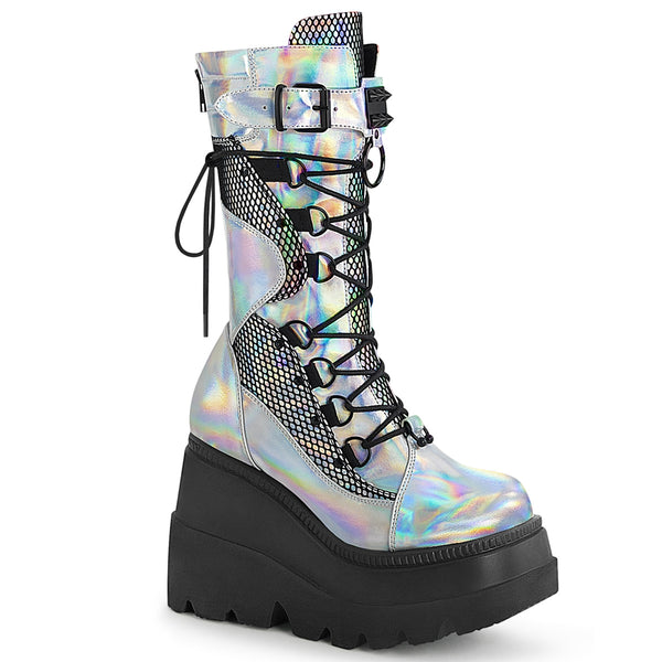 SHAKER-70  Silver Hologram Vegan Leather-Black Fishnet