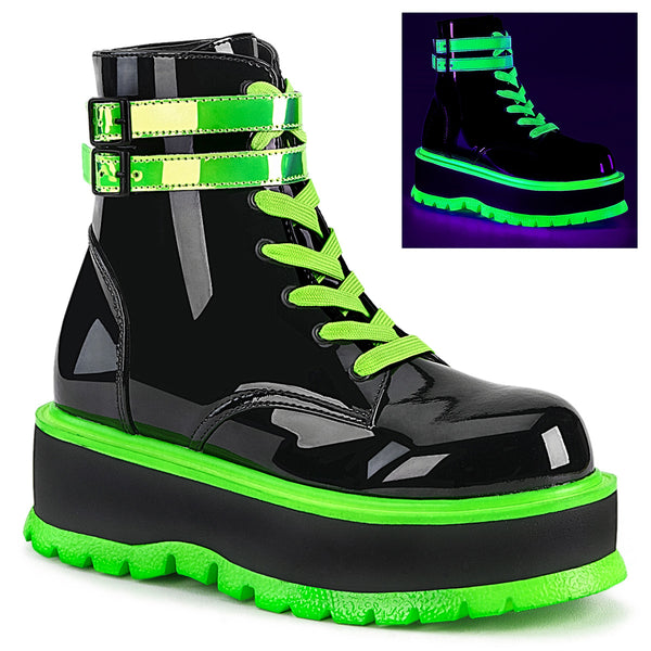 SLACKER-52  Black Patent-UV Iridescent Green