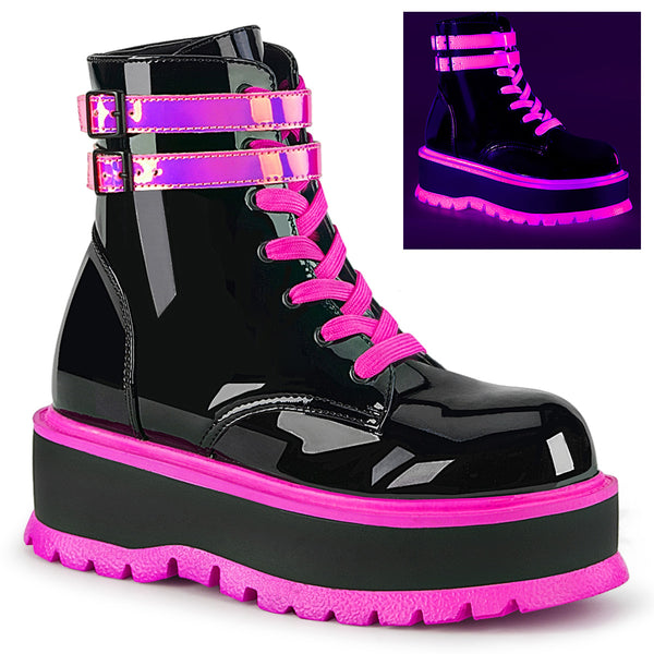 SLACKER-52  Black Patent-UV Iridescent Pink