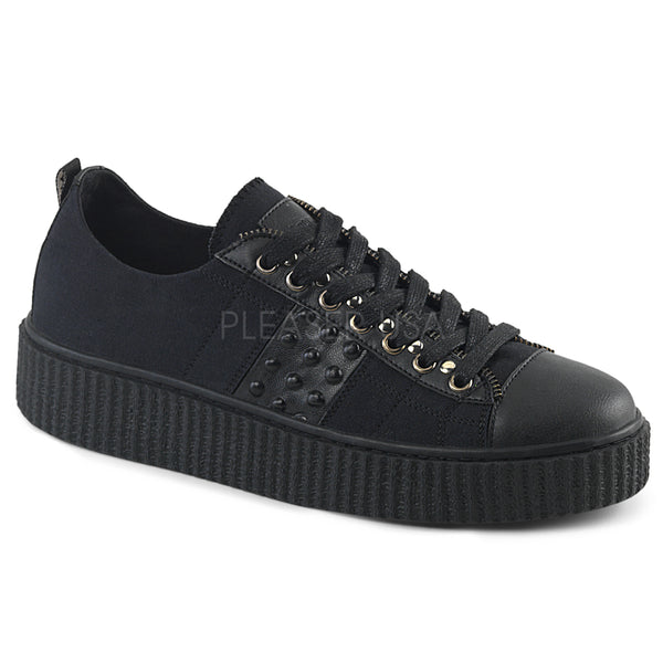 SNEEKER-107  Black Canvas-Black Pu