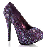 TEEZE-06R Satin Purple Rhinestone Iridescent