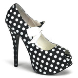 TEEZE-25  Black Satin Pu-White (Polka Dots)