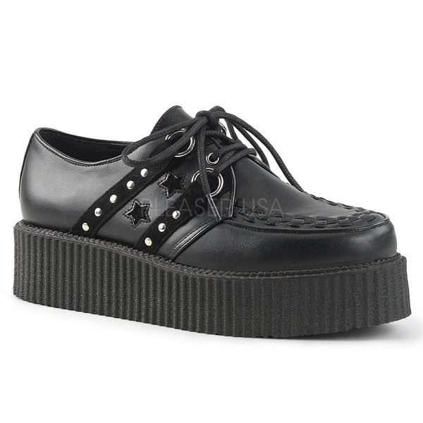 V-CREEPER-538  Black Vegan Leather-Suede