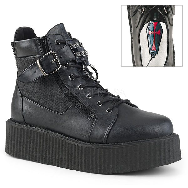 V-CREEPER-566  Black Vegan Leather