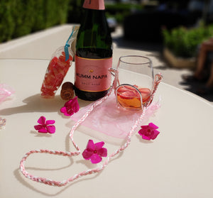 Pink & White Braided Suede Wine Glass Necklace - Corking Creations