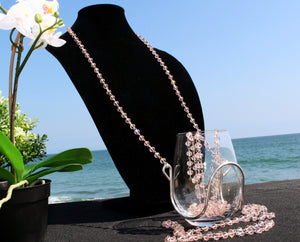 Pink Rosé Crystal Bead Wine Glass Necklace - Corking Creations