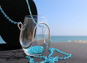 Sapphire Crystal Bead Wine Glass Necklace - Corking Creations