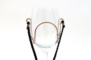 Black Braided Suede Wine Glass Necklace - Corking Creations