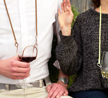 Brown Braided Suede Wine Glass Necklace - Corking Creations