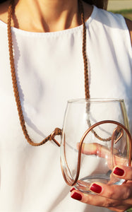 Brown Braided Suede Wine Necklace - Corking Creations