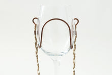 Beige & White Braided Suede Wine Glass Necklace - Corking Creations