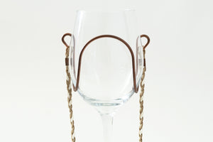 Beige & White Braided Suede Wine Glass Necklace white background