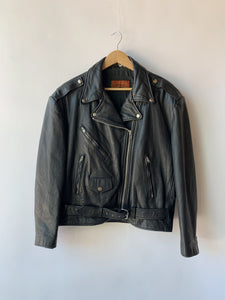 Vintage Black Motorcycle Jacket Size L/XL