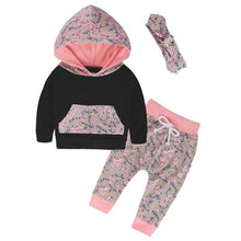 Girls Floral Hoodies Top+Pants+Headband 3Pcs Set Boutiqus