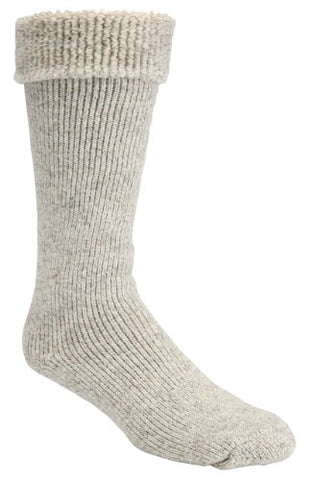 -50 Below Ice Sock (Knee Length, Extra Warm Wool Cushion) - 2 Pairs (Beige, Large (8-12 Shoe)(Turn Down with Gumboot Cuff))