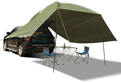 REDCAMP Waterproof Car Awning Sun Shelter, Portable Auto Canopy Camper Trailer Sun Shade for Camping, SUV, Outdoor, Beach Army Green