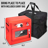 Hike Crew Outdoor Gas Camping Oven w/Carry Bag | Portable Propane Oven & 2 Burner Stovetop w/Auto Ignition Built-in Thermometer Safety Overheating Shut Off & Wind Panels | Includes Hose + Regulator