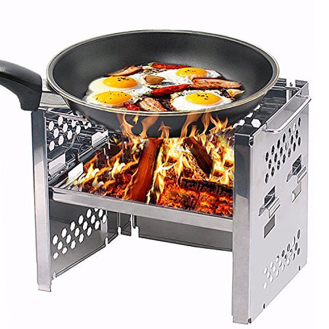 Unigear Wood Burning Camp Stoves Picnic BBQ Cooker/Potable Folding Stainless Steel Backpacking Stove