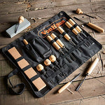 VonHaus 16pc Wood Carving Tool Set with Wood Knives, Carving Tools, Files Sharpening Stone and Malle
