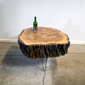 Large Poplar Live Edge Log Table, Vintage Inspired Hair-pin Steel Legs