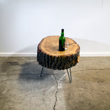 Medium Poplar Live Edge Log Table, Vintage Inspired Hair-pin Steel Legs