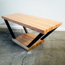 V-Table - Cherry base with mortised in Walnut legs