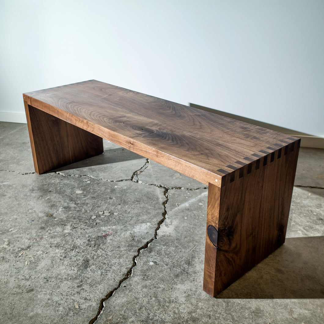 Walnut Bench - pinned with a solid brass rod