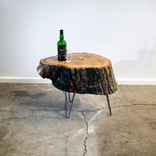 Small Poplar Live Edge Log Table, Vintage Inspired Hair-pin Steel Legs