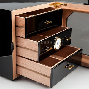 COHIBA Luxury Black High Glossy Finish Wooden Cigar Cabinet Humidor Storage Box with 3 Drawers Hygrometer Humidifier