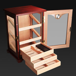 COHIBA High Glossy Cedar Wood Cigar Cabinet Humidor Storage Box W/ 3 Drawers Hygrometer Humidifier