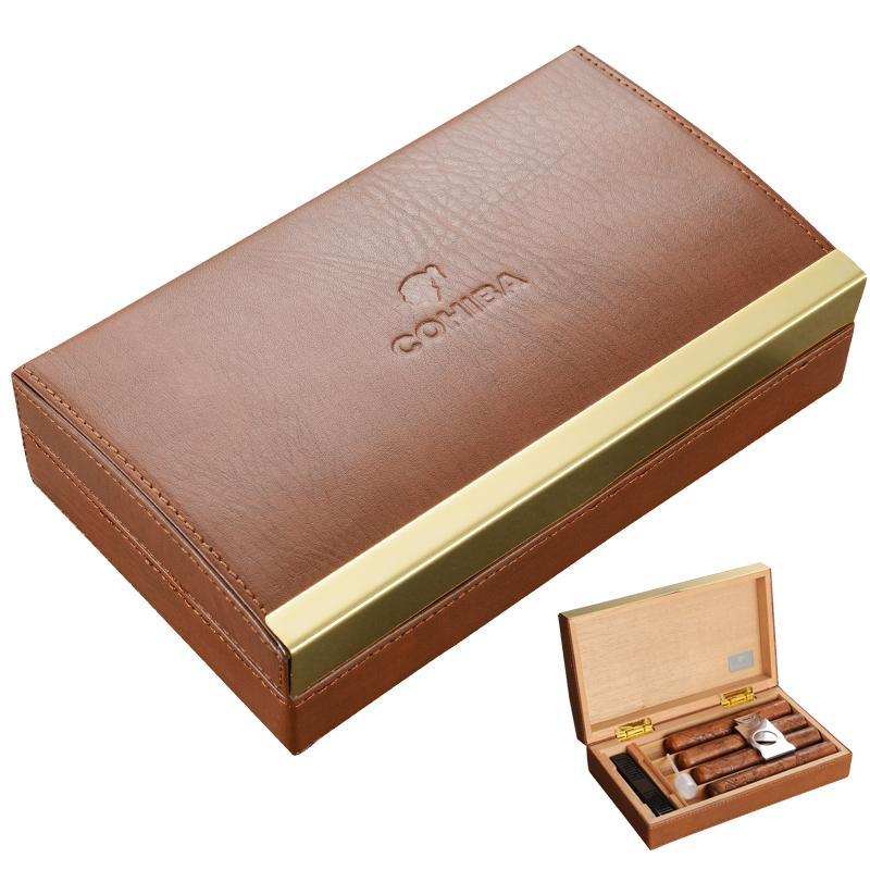 COHIBA Cow Hide Cedar Wood Humidor
