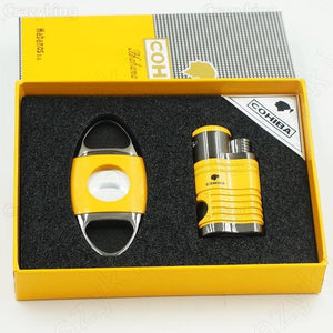 COHIBA Metal Cigar Lighter Cutter Set 4 Torch Jet Flame Butane Gas Lighters With Punch