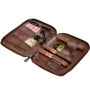 CIGARLOONG Unique Design Luxury Travel Portable Cow Leather Cigar Case