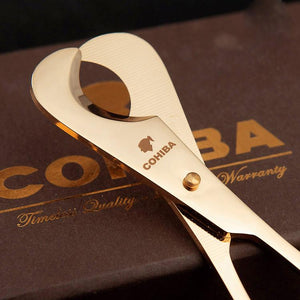 COHIBA Double Blades Stainless Steel Gold Plated Cigar Scissors