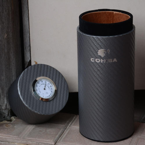 COHIBA Carbon Fiber and Cedar Wood Lined Tube Mini Humidor Inside with Long Humidifier Hygrometer