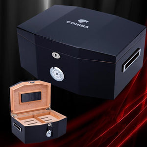 COHIBA Black Glossy Piano Finish Wood Cigar Humidor Cabinet Large Capacity Storage Box W/ Lock Hygrometer Humidifier