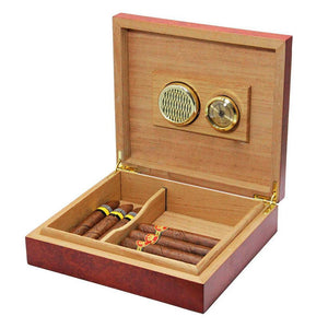 Cedar Wood Lined Cigar Humidor Humidifier With Hygrometer Case Box