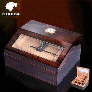 COHIBA Luxury See-through Glass Window High Glossy Finish Cuban Double-deck Cigar Humidor Nice Storage Box W/ Humidifier Hygrometer