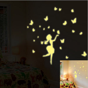 Glow in the Dark Luminous Fluorescent Girl Butterfly Wall Stickers for Kids Rooms Home Decor