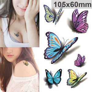 5 Sheets Waterproof 3D Butterfly Temporary Tatoo Stickers Foil Decal Fashion Body Art Fake Tattoo