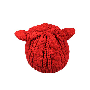 Cute Lady Girl Knitted Hat Fall Winter Warm Beanies Hats with Cat Ear Design