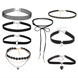 8 Pieces Sexy Lace Choker Necklaces Collier ras du cou Set Velvet Chockers Gifts for Women Girls